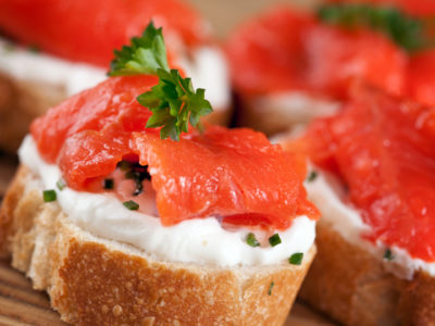 Smoked Salmon with Crème Fraîche Toasts