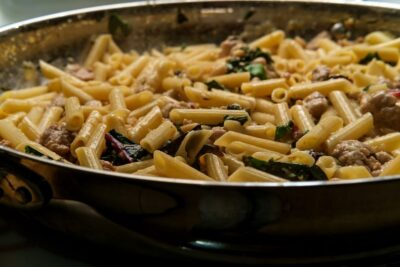 Rigatoni with Spicy Sausage and Cannellini Beans